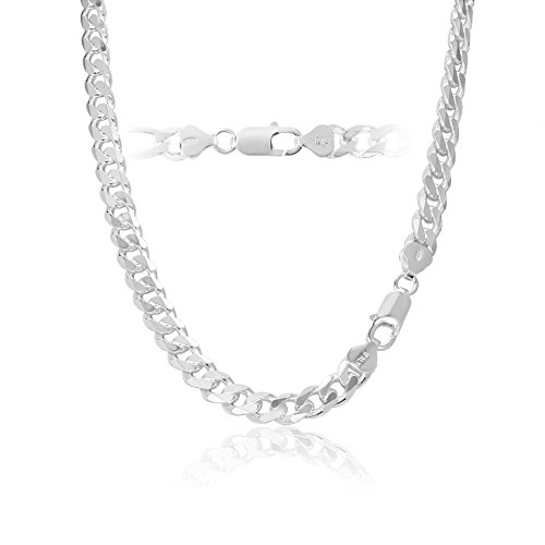 7mm 925 Sterling Silver Cuban Curb Link Chain Necklace 18 inch