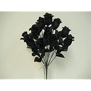 "Phoenix Silk 2 Bushes BLACK Rose Buds 28 Artificial Silk Flowers 17"" Bouquet 643BK 8"