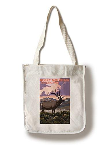 Lantern Press Rocky Mountain National Park, Colorado - Elk and Sunset (100% Cotton Tote Bag - Reusable)