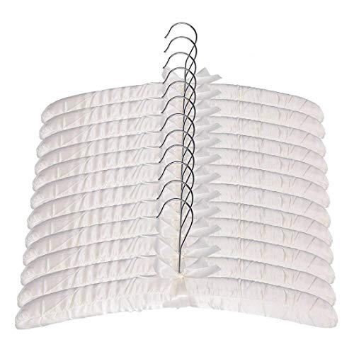 Tosnail Satin Padded Hangers Foam Padded Hangers Dress Hangers - Ivory 12 Pack ()