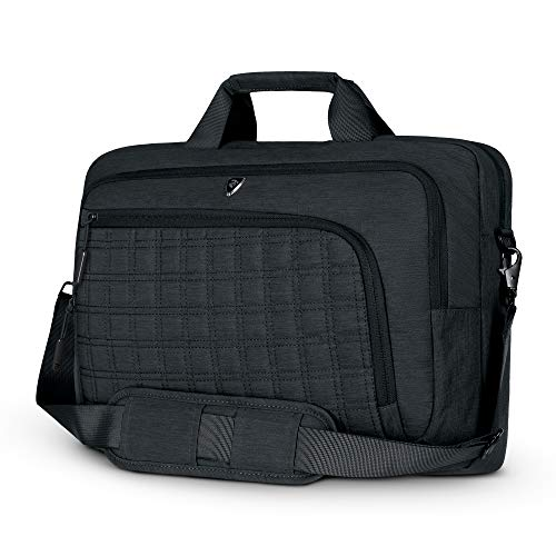 2E Canvas Laptop Bag for Men and Women, fits 15.6 inch MacBook and Notebook Computers, Messenger Shoulder Bag, Water Resistant, CrossSquares Black