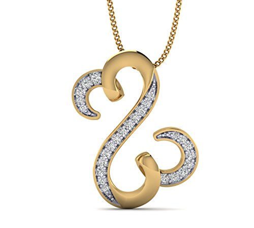 Fehu Jewel 0.13cts Natural Diamond Gold Over Sterling Silver Jane Seymour Heart Pendant for Her (Yellow-Gold-Plated-Silver) (Pave Silver Diamond Necklace)