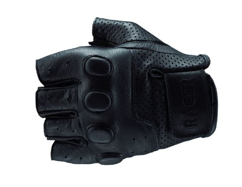 RACER BUBBLE LEATHER SUMMER FINGERLESS MOTORCYCLE GLOVES BLACK 2XL