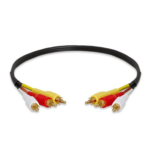 1.5 Rca Cable - Cmple - 3-RCA Composite Video Audio A/V AV Cable GOLD - 1.5 ft