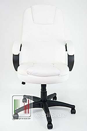 Stil Sedie poltrona ufficio ergonomica presidenziale con braccioli sedia girevole in ecopelle con altezza regolabile BIANCO