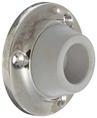 "Rockwood 416.26 Brass Concave Solid Cast Wall Stop, #8 X 1-3/4"" FH SMS WS Fastener with Plastic Anchor, 2-7/16"" Diameter, Polished Chrome Plated Finish"