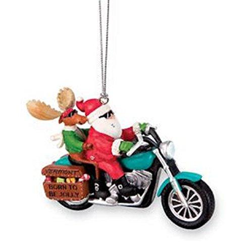 Biker Santa - Santa and Moose Biker Ornament Motorcycle