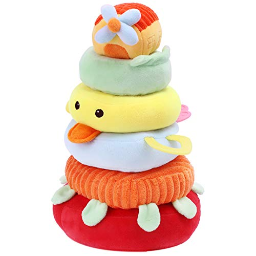Ring Plush Stacker - iPlay, iLearn New Baby Soft Safe Toy, Plush Stacking Rings, Cotton Stacker Set, Grip Shaker, Teething, Silicone Teether, Gift 3, 6, 9, 12, 18 Months, 1 Year Old, Newborn, Infant, Toddler (Yellow)