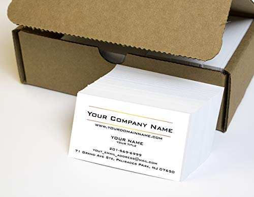Simple Custom Premium Business Cards 500 Full color - Two Sunny lines design- White front-White back (129 lbs. 350gsm-Thick paper),Offset Printing, Made in The USA -