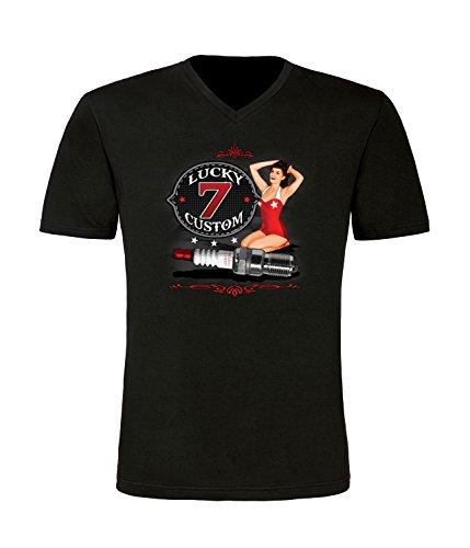 Lucky Seven Custom Herren T-Shirt mit V-Ausschnitt