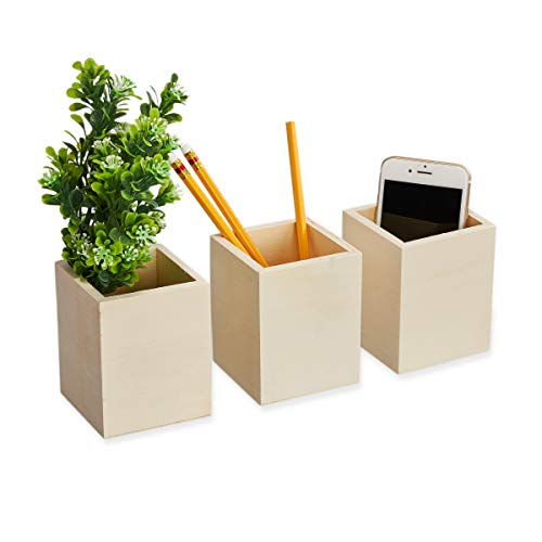 Wooden Pencil Holder (Genie Crafts 3-Pack Unfinished Wooden Pen and Pencil Holder Cups for Office Desk Organization and DIY Crafts, 3 x 3.5)