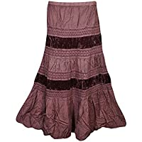 Mogul Womans Tiered Skirt Velvet Touch Rayon Boho Hippy Gypsy Medieval Skirts