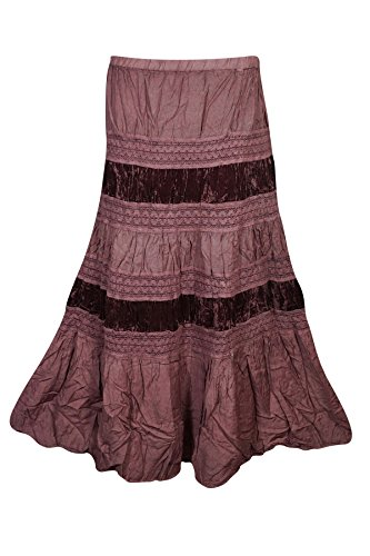 irt Velvet Touch Rayon A-line Boho Tiered Gypsy Medieval Skirts (Brown 2) (Rayon Velvet Skirt)
