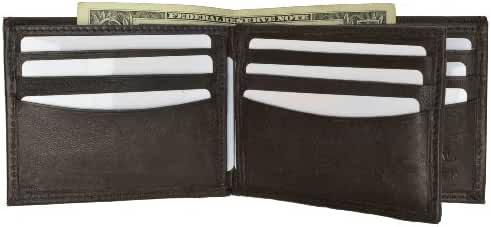 Bifold Center Flap Lambskin Leather Wallet with ID and Credit Card by Marshal
