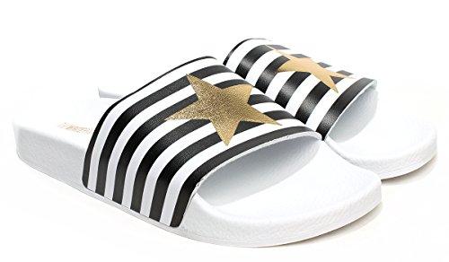 TheWhiteBrand, Donna, Stars And Stripes, PVC, Ciabatte, Bianco