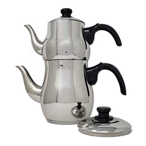 Turkish Samovar Style Stainless Steel Double Handle Teapot Tea Maker Kettle 1.1 L & 2.5 L Capacity - Teapot Handle Double