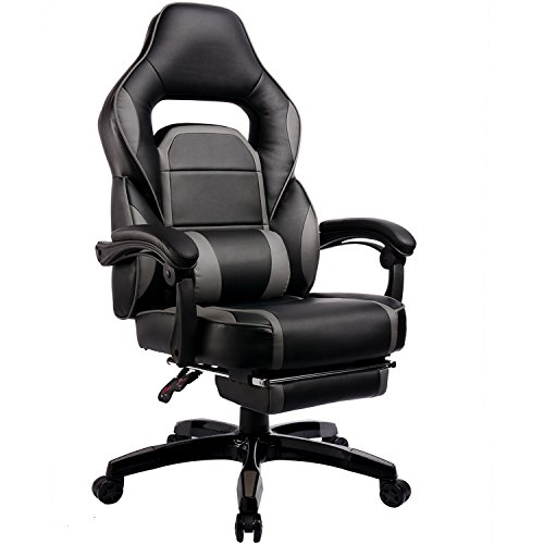 Like Swivel Leather Recliner Cushion (GTRACING High Back Ergonomic Gaming Chair Racing Chair Napping Computer Office Chair With Padded Footrest, Black and GRAY)
