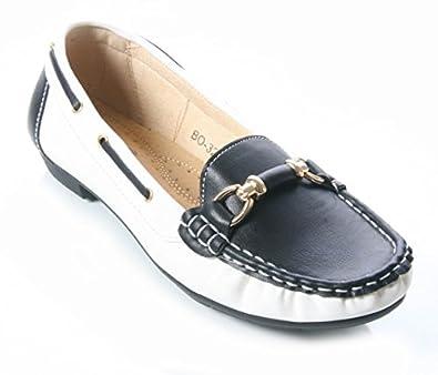 25044cf9969 Mojoshu Womens Ladies Two Tone Loafers with Metal Trim Work Secretary Shoes  Size 3-8 (UK 8  EU 41