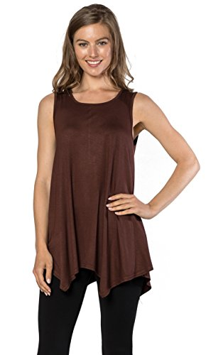 Womens Tunic Tank Top T-Shirt - Loose Basic Sleeveless Tee Shirt Blouse, (Brown Maternity Tee)