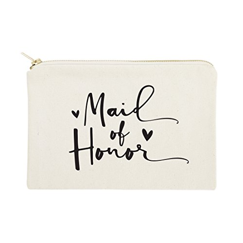 The Cotton & Canvas Co. Maid of Honor Wedding Cosmetic Bag, Bridal Party Gift and Travel Make Up Pouch by The Cotton & Canvas Co. (Image #5)