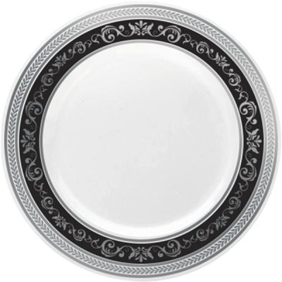 Royalty Settings Royal Collection Heavy Duty Plastic Plates for Weddings for 20 Persons, Includes 20 Dinner Plates, 20 Salad Plates, 40 Forks, 20 Spoons, 20 Knives, Black and Silver - Silver Wedding Collection