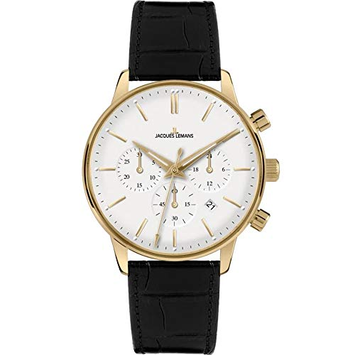 Watches Jacques Lemans Men - Jacques Lemans Men's Retro Classic 37mm Black Leather Band Gold IP Case Quartz White Dial Watch N-209B