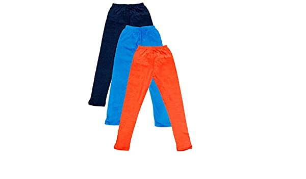 Pack of 3 Indistar Big Girls Cotton Full Ankle Length Solid Leggings -Multiple Colors-13-14Years