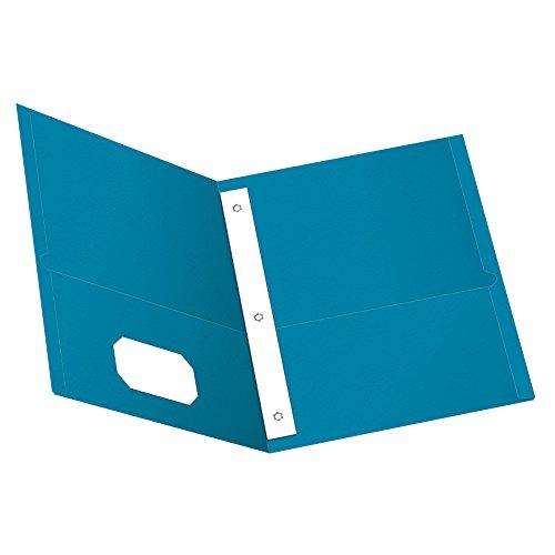 Oxford Two-Pocket Folders w/Fasteners, Light Blue, Letter Size, 25 per box (57701)