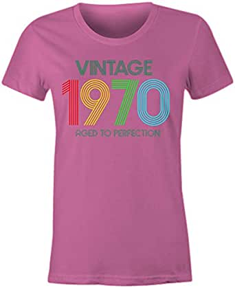6TN Ladies Vintage 1970 Aged to Perfection T Shirt (Small, Pink)
