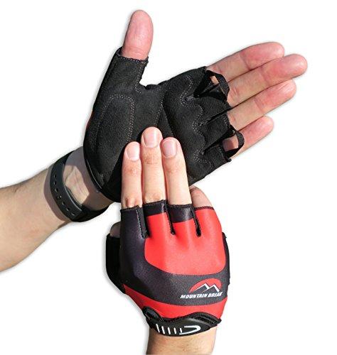 Cycling Gloves Mountain Bike Gloves Road Racing Bicycle Gloves for Biking, Mountain Biking, Riding, Gym, Sports, Foam Padded Breathable Half Finger Gloves, Men Women Work Gloves Red Xlarge
