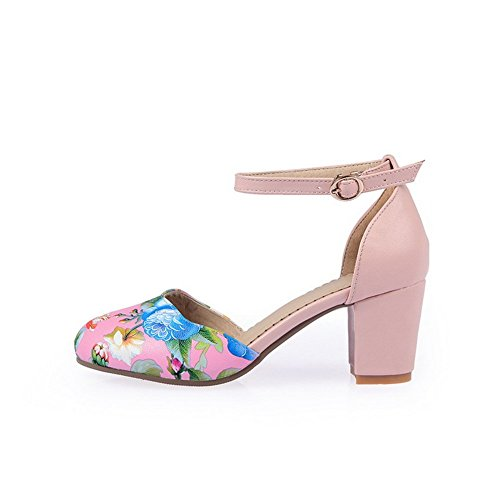 BalaMasa Womens Animal-Print Round-Toe Imitated Leather Pumps-Shoes Pink PPXWe2L