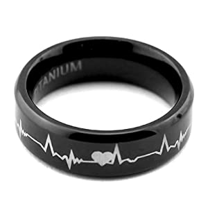 ❤Lifetime Love❤ 6mm Black Titanium Matching Rings Cardiogram Laser Engraved Top Polish Finished Wedding Bands Promise Rings for Couples, Mens Womens Tungsten Bands, New Year's Gift for Boyfriend Girlfriend, Wide Ring Sets, Tail Ring Thumb Ring