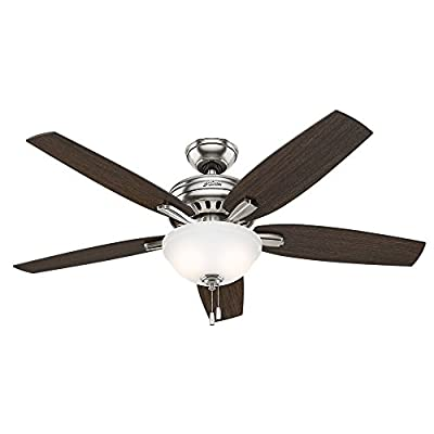 """Hunter Fan Company 53312 Newsome Ceiling Fan with Light, 52""""/Large, Brushed Nickel"""