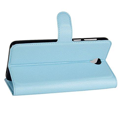 Lusee® PU Caso de cuero sintético Funda para Cubot Max 4G 6.0 Pulgada Cubierta con funda de silicona azul azul