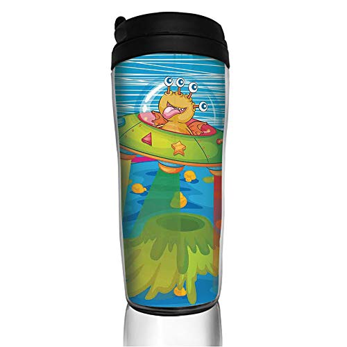 Stainless Steel Insulated Coffee Travel Mug,Monster in Ufo on Planet Solar System Galaxy,Spill Proof Flip Lid Insulated Coffee cup Keeps Hot or Cold 11.8oz(350 ml) Customizable printing
