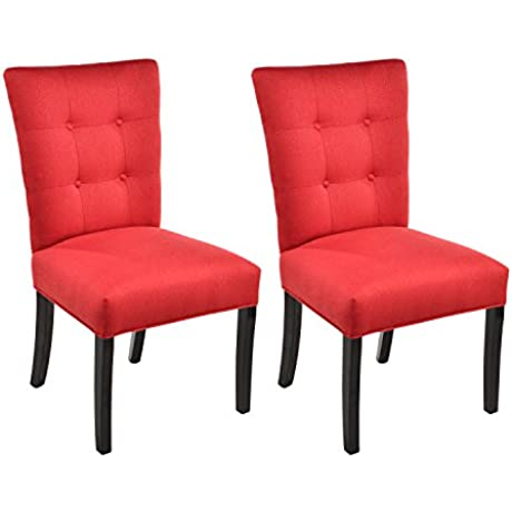 Sole Designs La Mode Collection Fanback Dining Chair 4 Button Stitched Side Chair Berry Set Of 2