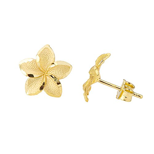 Fine 10k Yellow Gold Hawaiian Plumeria Flower Stud Earrings - Gold Hawaiian Flower