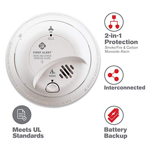 First Alert BRK SC9120B Hardwired Smoke and Carbon Monoxide (CO) Detector with Battery Backup (Best Place To Place Carbon Monoxide Detector)