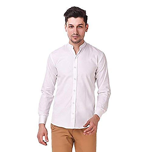 STYLETHIC Men's Cotton Chinese Collar Slim Fit Shirts Full Sleeves