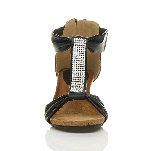 Womens ladies mid heel footbed wedge zip t-bar diamante summer sandals shoes size Black FAalQ