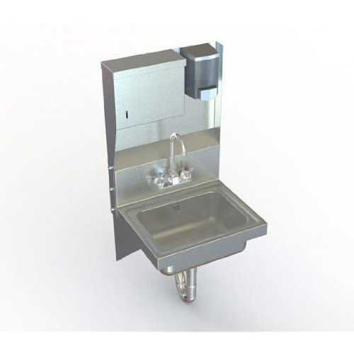 Aero stainless steel utility sink with soap and towel dispen