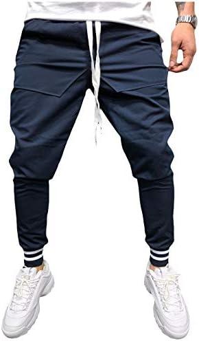 Romancly メンズスリムミッドウエストプラスサイズ固体ポケットストラップ付きスポーツパンツ