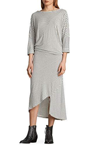AllSaints Cadie Stripe Midi Dress for Women in Ecru Black Stripe, XSmall from AllSaints