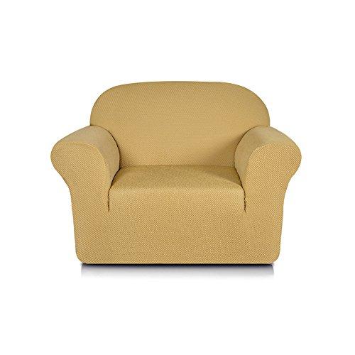 Subrtex 1-Piece Jacquard Spandex Stretch Sofa Slipcovers (Chair, Beige) (Chair Kitchen Walmart Covers)