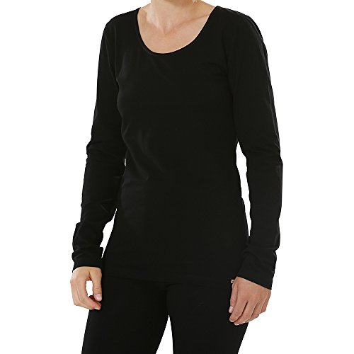 comazo Damen Shirt Langarm Bio-Baumwolle/Elasthan Schwarz, 46