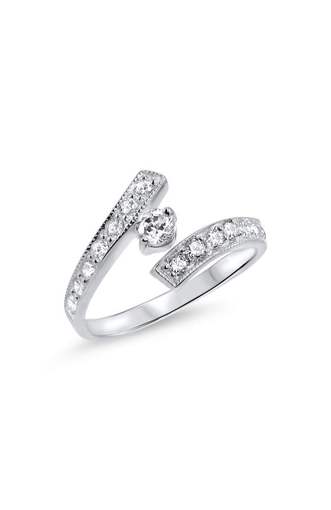 10k White Gold Toe Ring Clear Clear CZ. Size Adjustable by Nose Ring Bling