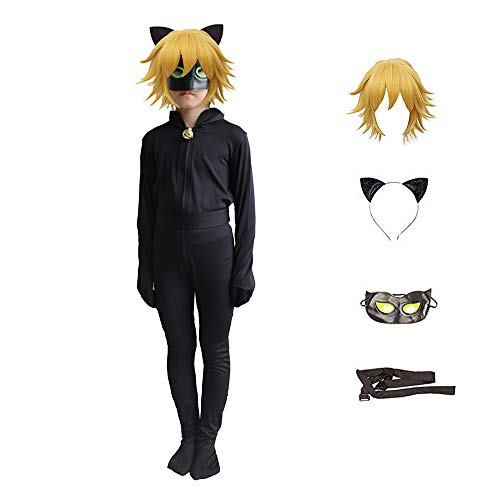 Black Cat Noir Cosplay Costume Ladybug Halloween Party Birthday Gift Jumpsuit for Boys Marinette Superhero Cosplay Dress -