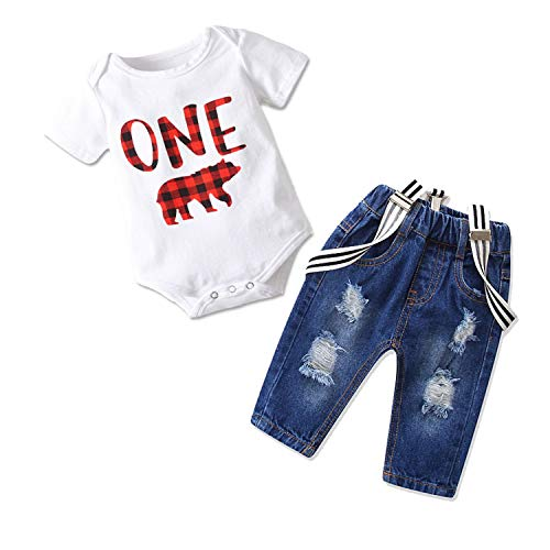 Toddler Baby Boy Clothes Set Bowtie Romper Suspenders Ripped Denim Pants Outfits (One Bear, 90/Fit 12-18 Months)