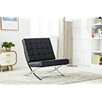 Furniture World Chamberlin Barcelona Style Quilted Bonded Leather Accent Chair, Black