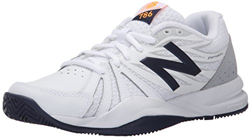 New Balance Women's 786v2 Tennis Shoe, White/Blue, 9.5 D (New Balance Tennis Cap)